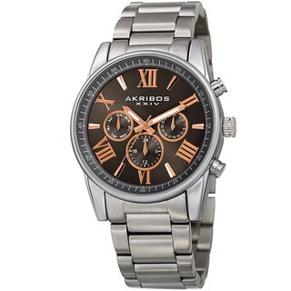 Akribos XXIV Men's Swiss Quartz Multifunction Dual Time Rose-Tone Bracelet Watch - grey