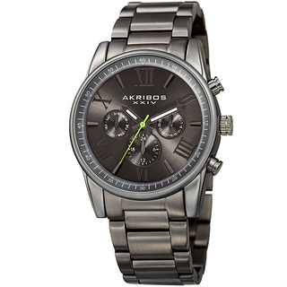 Akribos XXIV Men's Swiss Quartz Multifunction Dual Time Gray Bracelet Watch