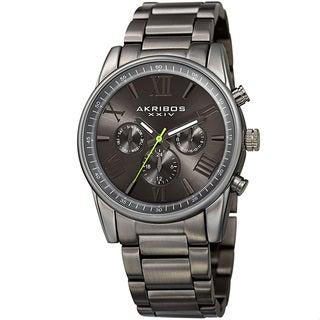 Akribos XXIV Men's Swiss Quartz Multifunction Dual Time Gray Bracelet Watch - Grey