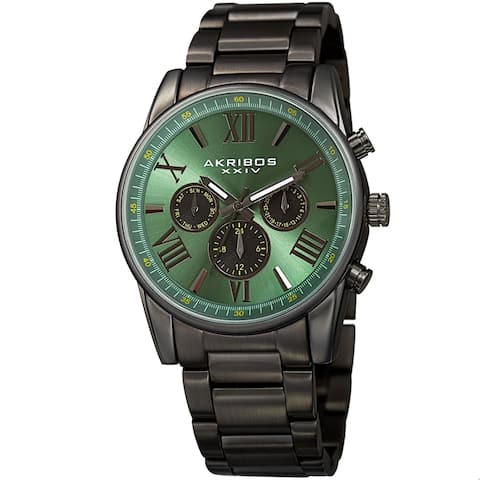 Akribos XXIV Men's Swiss Quartz Multifunction Dual Time Green Bracelet Watch