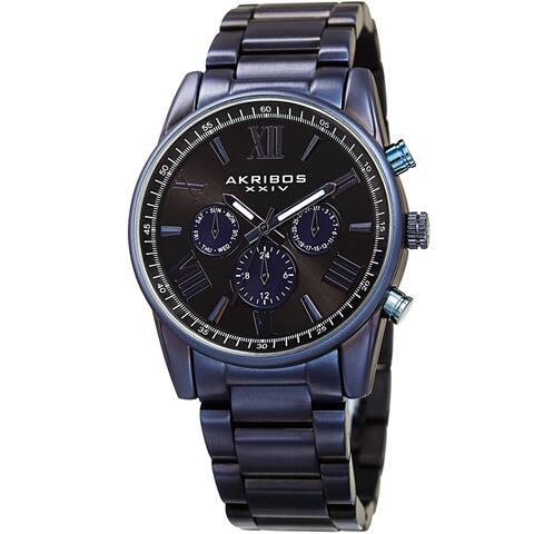 Akribos XXIV Men's Swiss Quartz Multifunction Dual Time Blue Bracelet Watch