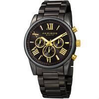 Akribos XXIV Men's Swiss Quartz Multifunction Dual Time Black Bracelet Watch