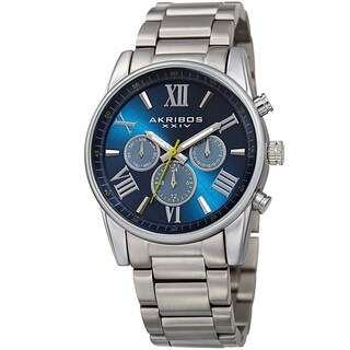 Akribos XXIV Men's Swiss Quartz Multifunction Dual Time Blue Bracelet Watch