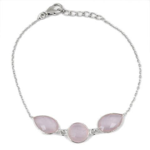 Rose Quartz Sterling Silver Pear Chain Bracelet by Orchid Jewelry