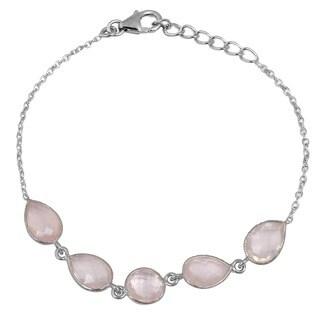 Orchid Jewelry 925 Sterling Silver 12.20ct TGW Genuine Rose Quartz Bracelet