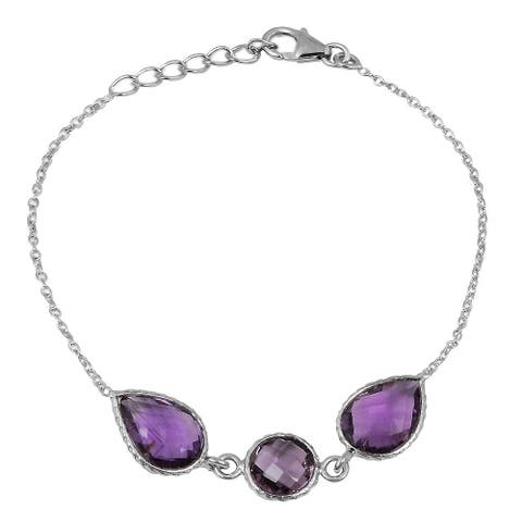 Amethyst, Sterling Silver Pear Chain Bracelet by Orchid Jewelry