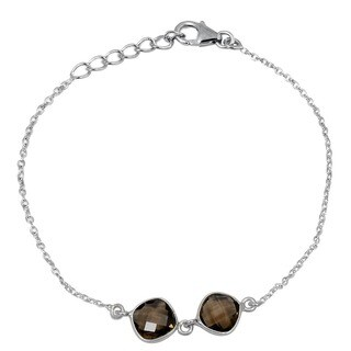 Orchid Jewelry 925 Sterling Silver 4ct Cushion-cut Smoky Quartz Gemstone Bracelet