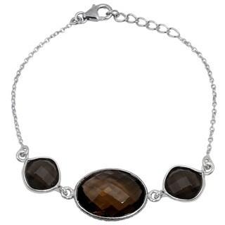 Orchid Jewelry 925 Sterling Silver 14.30ct TGW Genuine Smoky Quartz Bracelet