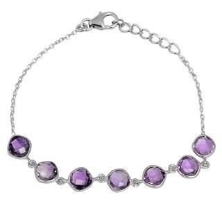 Orchid Jewelry 925 Sterling Silver 13.3ct TGW Genuine Amethyst Bracelet