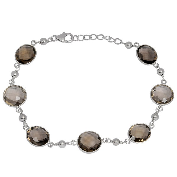 Orchid Jewelry 925 Sterling Silver 27 2ct Tgw Genuine Smoky Quartz Bracelet