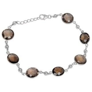 Orchid Jewelry 925 Sterling Silver 29.2ct TGW Genuine Smoky Quartz Bracelet