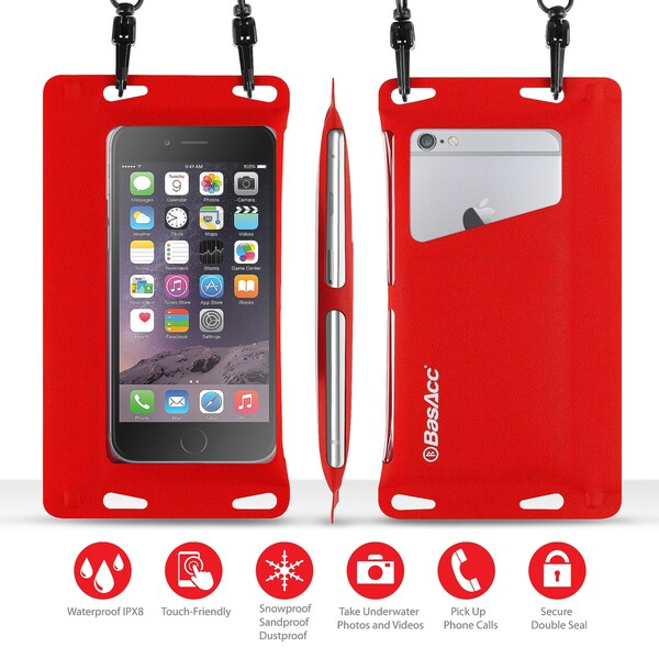 BasAcc Universal Red IPX8 Certified Double Sealing Waterproof Bag with Card Slot For iPhone 6/ 6S/ SE/ Samsung Galaxy S7 Edge