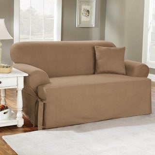 Sure Fit Cotton Classic T-cushion Loveseat Slipcover in Natural (As Is Item)