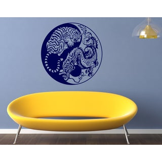 Tiger and Dragon animals fight Wall Art Sticker Decal Blue