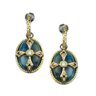 One-of-a-kind Michael Valitutti Opaque Apatite with Blue Zircon and Blue Sapphire Earrings