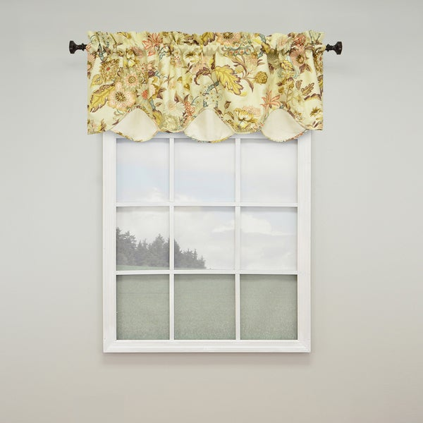 Waverly Graceful Garden Cream Scalloped Valance