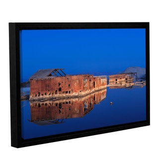 Scott Campbell 'Abandoned And Sunken House Reflection' Gallery Wrapped Floater-framed Canvas