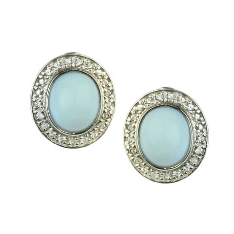 One-of-a-kind Gems en Vogue Blue Opal with Blue and White Sapphire Stud Earrings