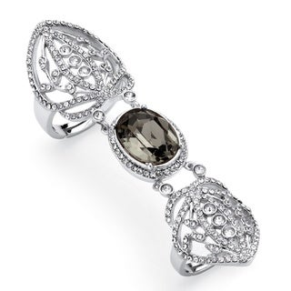 PalmBeach Oval-Cut Grey Crystal Openwork Expandable Knuckle Ring MADE WITH SWAROVSKI ELEMENTS Platinum-Plated Color Fun