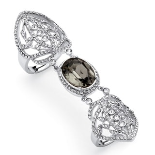 Oval-Cut Grey Crystal Openwork Expandable Knuckle Ring MADE WITH SWAROVSKI ELEMENTS Platin
