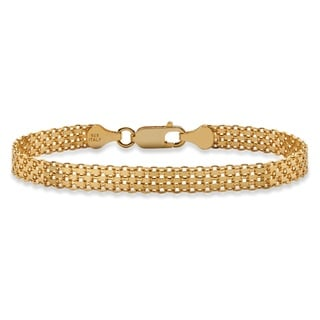 "PalmBeach Bismark-Link Bracelet in 14k Gold over Sterling Silver 7"" Tailored"