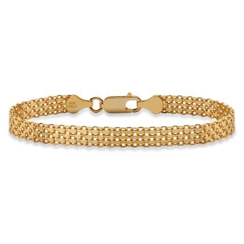 """Bismark-Link Bracelet in 14k Gold over Sterling Silver 7"""" Tailored"""