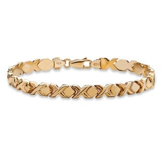 "PalmBeach X and O Stampato-Link Bracelet in 14k Gold over Sterling Silver 7.25"" Tailored"