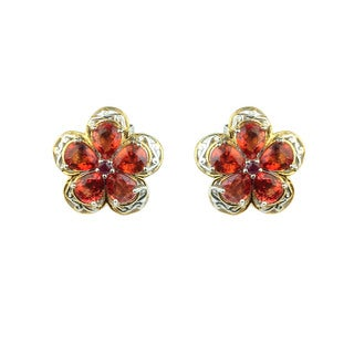 One-of-a-kind Michael Valitutti Orange Sapphire and Ruby Flower Stud Earrings