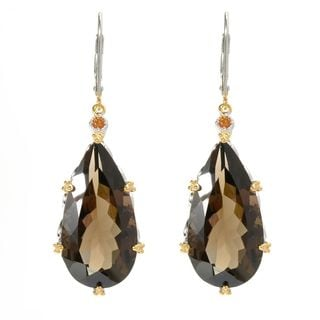 Michael Valitutti Elongated Smokey Quartz with Madeira Citrine Earrings