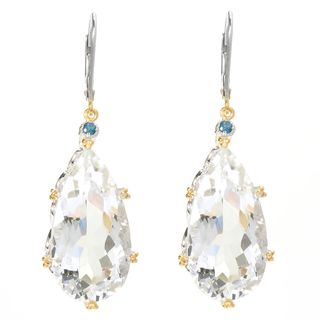 Michael Valitutti Elongated White Quartz with London Blue Topaz Earrings