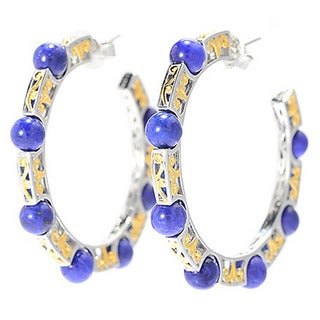 Michael Valitutti Lapis Lazuli Bead Hoop Earrings