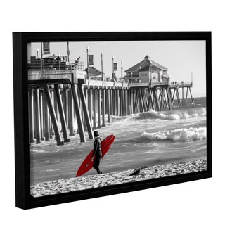Scott Campbell 'Existential Surfing at Huntington Beach' Gallery Wrapped Floater-framed Canvas - Black/White/Red