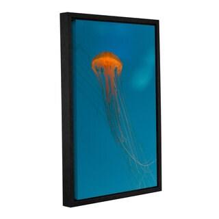 Scott Campbell 'Glowing Orange Sea Nettle' Gallery Wrapped Floater-framed Canvas
