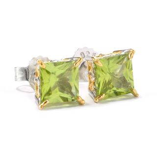 Michael Valitutti Princess Cut Peridot Stud Earrings