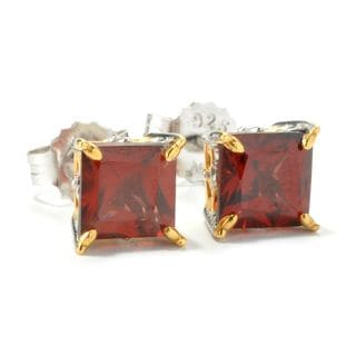 Michael Valitutti Princess Cut Garnet Stud Earrings