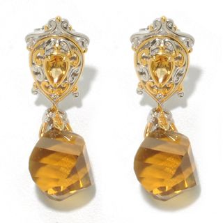 Michael Valitutti Twisted Honey Quarts with Citrine Drop Earrings