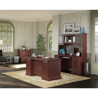 kathy ireland Office Bennington Manager's Desk, Credenza with Hutch and Lateral File