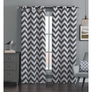 Avondale Manor Blackout Chevron Curtain Panel Pair in Navy (As Is Item)