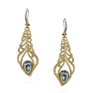 One-of-a-kind Michael Valitutti Topaz and Blue Sapphire Feather Earrings