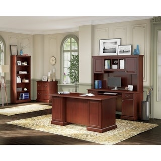 kathy ireland Office Bennington Manager's Desk, Credenza with Hutch, Lateral File and Bookcase