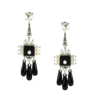 One-of-a-kind Michael Valitutti Black Onyx Drop Earrings with White Pearl