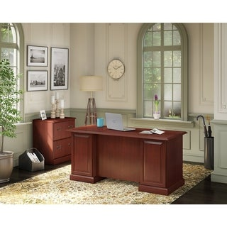 kathy ireland Office Bennington Manager's Desk, Lateral File in Cherry