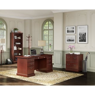 kathy ireland Office by Bush Business Furniture Bennington Manager's Desk, Lateral File, and Bookcase