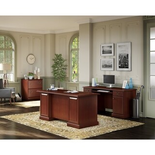 kathy ireland® Office Bennington Manager's Desk Office Suite in Cherry - Brown