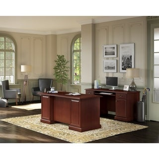 kathy ireland® Office Bennington Manager's Desk and Credenza in Cherry