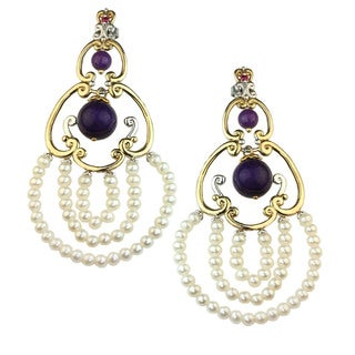 One-of-a-kind Michael Valitutti Purple Jade and White Pearl with Ruby Earrings