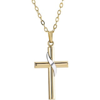Pori 14k Gold Two-tone Curl Cross Necklace