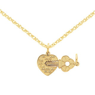 Versil 14k Gold Heart and Key Break Apart Charm 18-inch Necklace