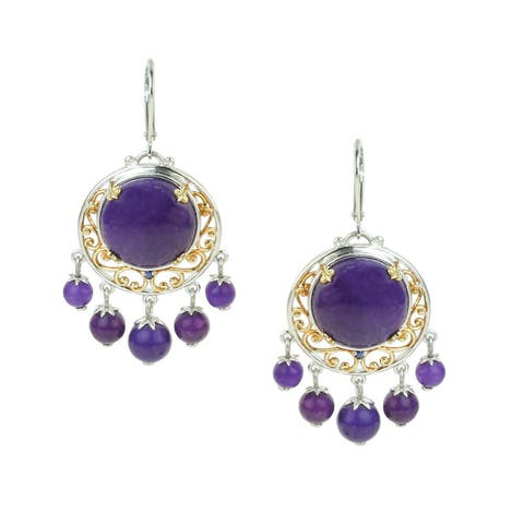 One-of-a-kind Michael Valitutti Purple Jade Bead Earrings with Blue Sapphire