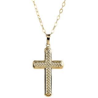 Pori 14K Yellow Gold Hammered Cross Neckalce